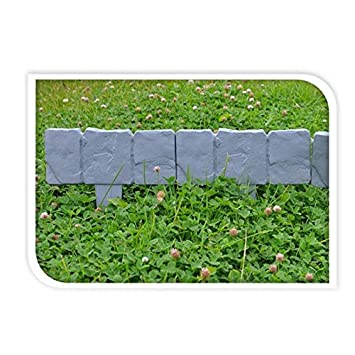 Beautiful Valla Para Jardín 10 Piezas 250 Cm Plástico Diseño De Piedra