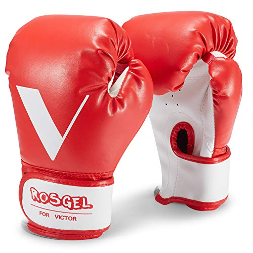 rosgel Kids Boxing Gloves, Children Junior Training Boxing Gloves, Youth Punching Kickboxing Muay Thai Mitts MMA Gloves- for Kids 3-7 Year