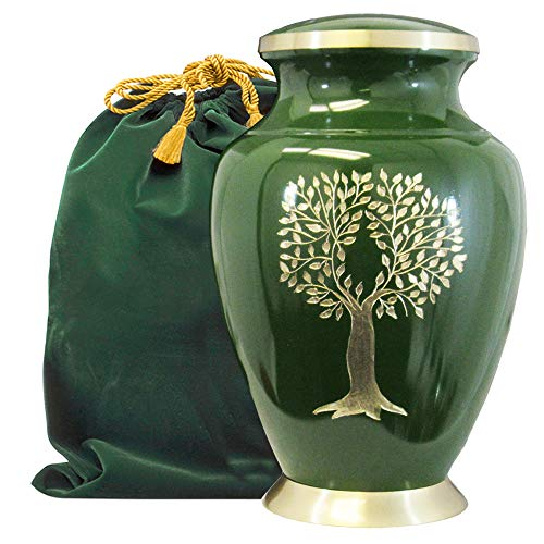 Tree of Life Classy Adult Green Urn for Human Ashes – Beautiful, Classic Green and Gold Large Urn Honors Your Loved One – Find Comfort and Peace with This Quality and Thoughtful Urn – with Velvet Bag
