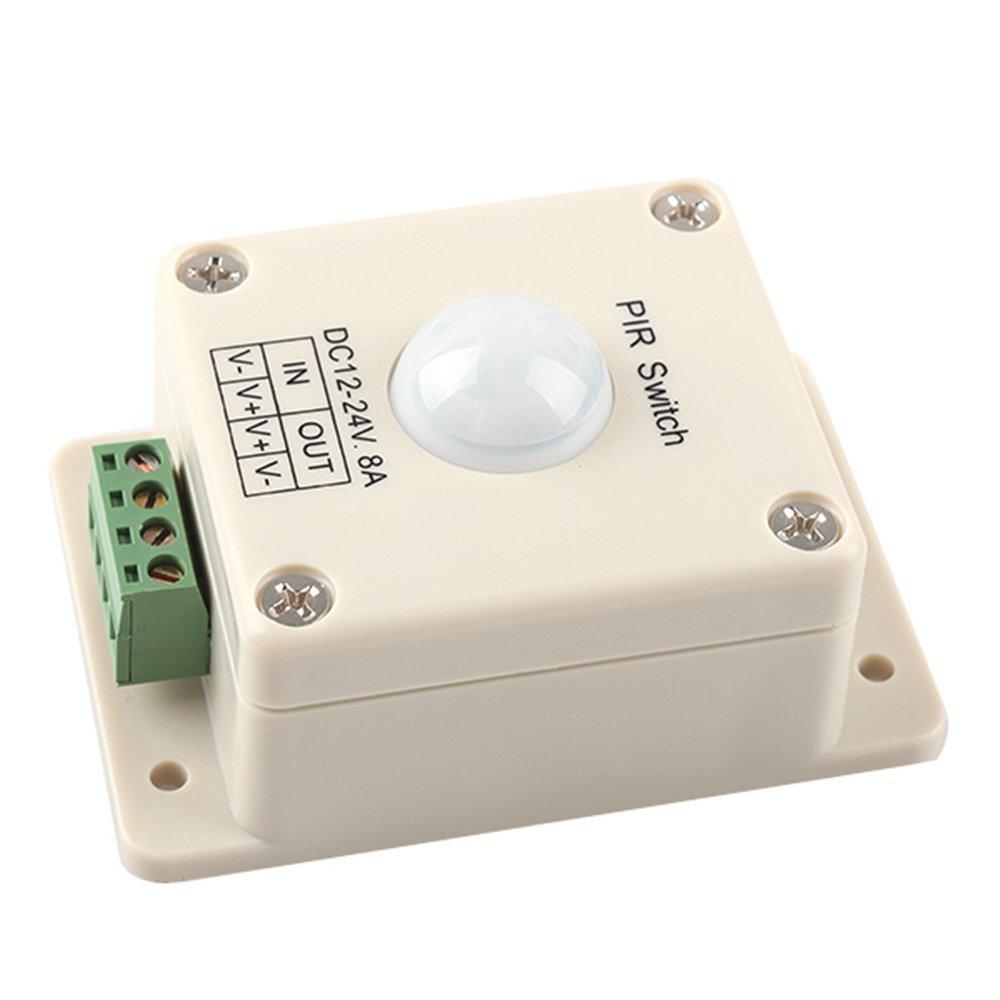SODIAL(R) DC 12V~24V 8A Automatic LED PIR Motion Sensor Switch Light Lighting