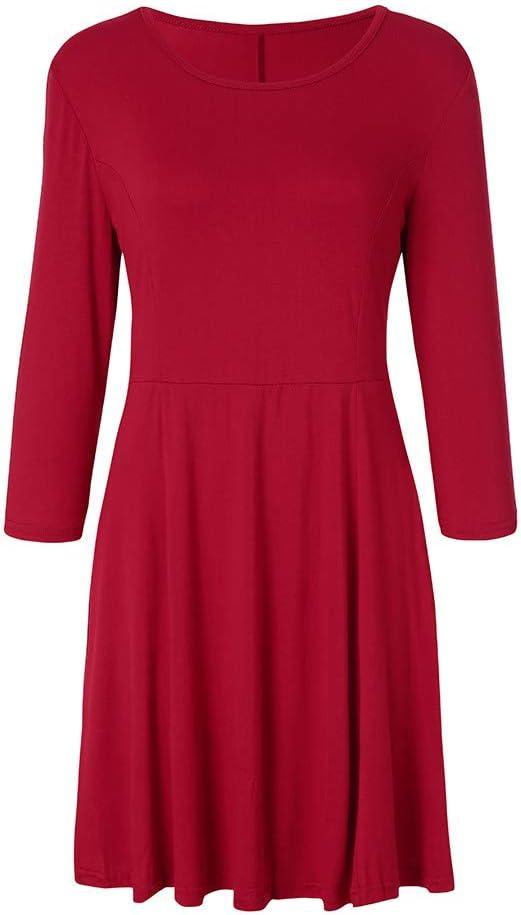 Timogee sukienka damska z wycięciem w kształcie litery O 3/4 sukienka na imprezy seksowna jednokolorowa sukienka koktajlowa sukienka down jesień wiosna: Odzież
