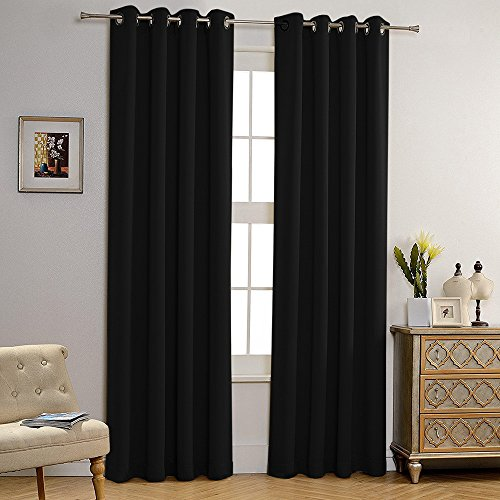 Gotian 2 Panel Window Curtain Insulated Foam Lined Heavy Thick Blackout Grommet Window Curtain Panels (Black) (Insulated Rail Plastic Joiners)