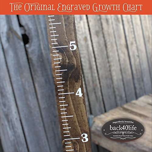 Back40Life | 60'' Premium Engraved Wooden Growth Height Chart Ruler - The Establishment (Dark Walnut + Antique White) by Back40Life (Image #4)
