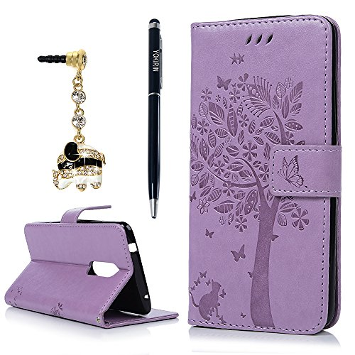 Leather Bonded Wallet Card (For ZTE Axon 7 Case, PU Leather Wallet Case Embossed Flower Flip Folio Magnetic Book Skin Shell with Credit Card Slots and Kickstand Wrist Strap Soft TPU Bumper Full Proteciton with Dust Plug Stylus)