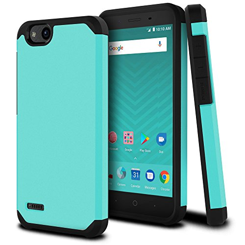 ble with ZTE Tempo X, ZTE N9137 [Liquid Armor] 2017 Slim Armor Dual Layer Protective [[Shockproof]] Hybrid BumperImpact Resistant Thin Hard Shell Cover (Matte Teal) ()