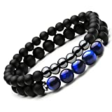 SEVENSTONE 2PCS Black Mantra Prayer Beads Bracelet for Men Women Cross Natural Stone (C 2PCS)
