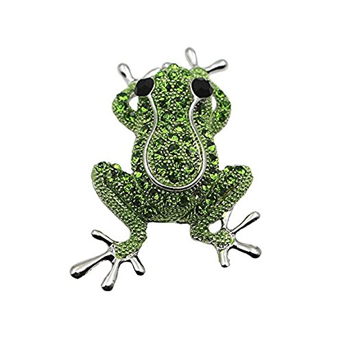 (Reizteko Animal Brooch for Women Men Rhinestone Crystal Brooch Pins Silver Plated (Valentines Day Gift) (Frog))