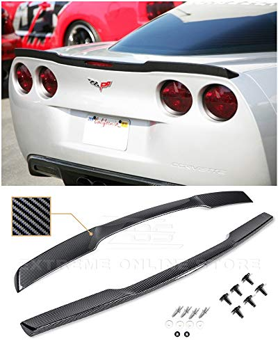 Extreme Online Store for 2005-2013 Chevrolet Corvette C6 All Models | ZR1 Style Rear Trunk Lid Wing Spoiler with Hardware Included (ABS Plastic - Hydro-Dipped Carbon - Carbon 09 Fiber