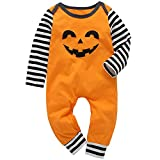 Halloween Infant Toddler Baby Boys Girls Jumpsuit Pumpkin Smile Face Bodysuit Long Sleeve Striped Romper Fall Clothes Set (Orange, 18-24 Months)