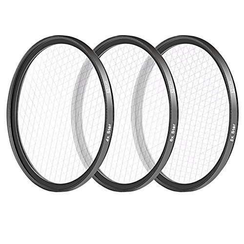 Neewer 52MM 3 Pieces Points Star Lens Filters Kit for Nikon D3300 D3200 D3100 D3000 D5300 D5200 D5100 D5000 D7000 D7100 DSLR Camera, Made of HD Glass and Aluminum Frame Material (Black) by Neewer