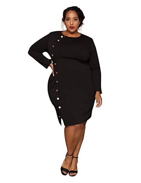 Astra Signature Women\'s Long Sleeve Crewneck Plus Size Retro Bodycon Nicole  Pencil Dress with Buttons