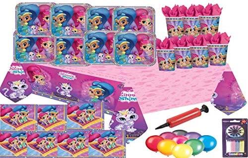 Shimmer and Shine Party Supplies Platos de cumpleaños para niñas Tazas de mesa Servilletas Tapa de mesa 32 personas con GLOBOS GRATUITOS VELAS DE ...