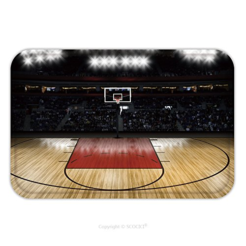 Flannel Microfiber Non-slip Rubber Backing Soft Absorbent Doormat Mat Rug Carpet Empty Basketball Court 359687000 for Indoor/Outdoor/Bathroom/Kitchen/Workstations