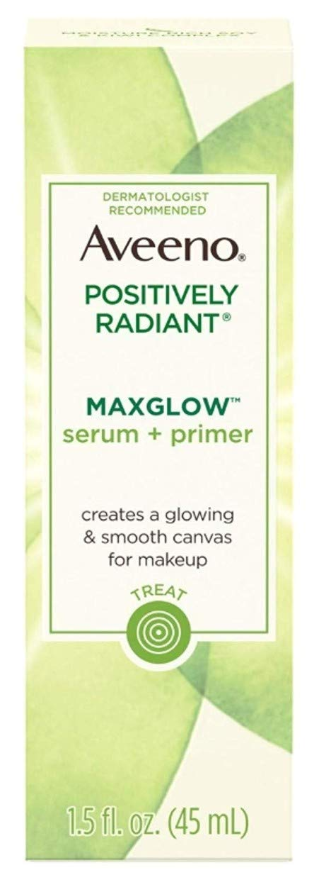 Aveeno Positively Radiant Max Glow Serum & Primer 1.5 Ounce (45ml) (2 Pack)