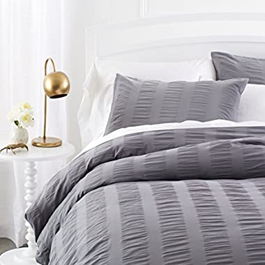 Pinzon Seersucker Duvet Cover Set - Full/Queen, Platinum