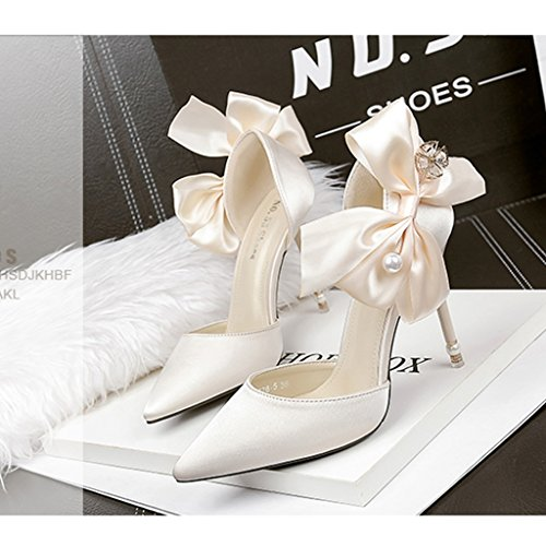 perle chaussures femmes ALUK pour Chaussures Shoes sauvage de chaussures Couleur chaussures simples 35 arc à chaussures Gold strass taille hauts Light long225mm mariage talons Gris EE7q0wWA