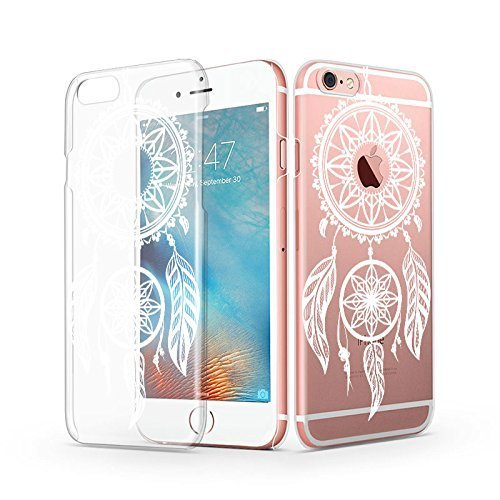 iPhone 6s Case, iPhone 6 Clear Case, MOSNOVO White Henna Mandala Dream Catcher Customized Design Transparent Clear Plastic Slim Ultra Thin Hard Case Cover for Apple iPhone 6 4.7 Inch