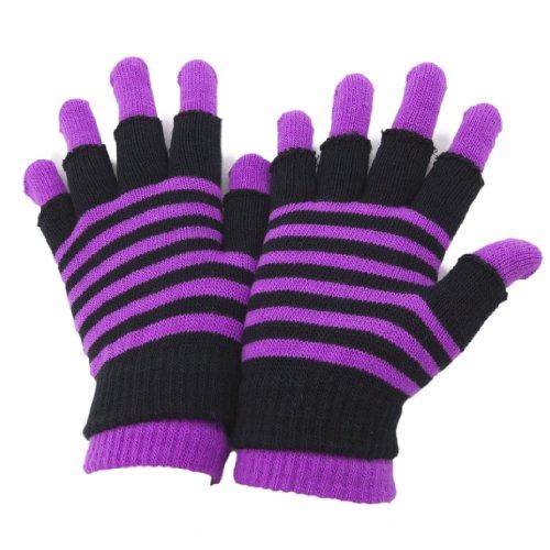 レディース サーマル 2in1 フィンガーカット?フルフィンガー マジックグローブ 指あり?指きり手袋 冬 防寒