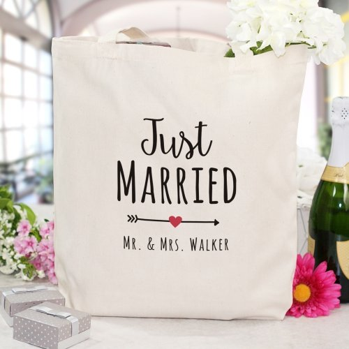"""Personalized Just Married Canvas Tote Bag, 16""""H x 14""""W, 100% (Just Married Tote)"""