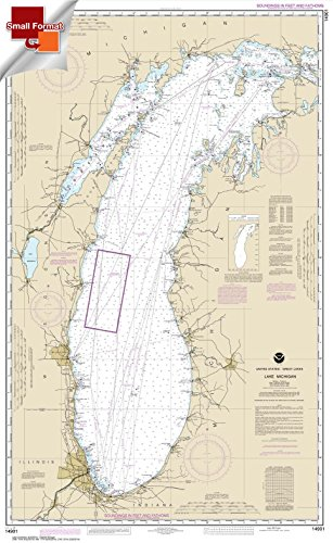 NOAA Chart 14901: Lake Michigan (Mercator Projection) 21.00 x 34.17 (SMALL FORMAT WATERPROOF) (Nautical Chart Lake Michigan)