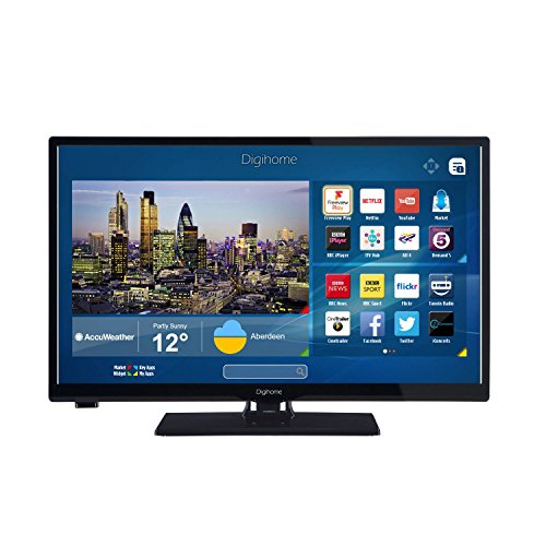 Digihome 24273SFVPT2HD Black 24Inch HD Ready Smart LED TV Intergrated WiFi...