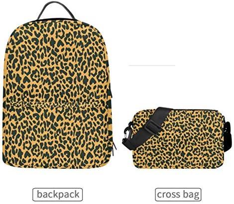 Lustiger Rucksack mit Leopardenmuster und Abnehmbarer Schultertasche für die Schule, Computertasche, Tagesrucksack für Kinder, Jungen und Mädchen