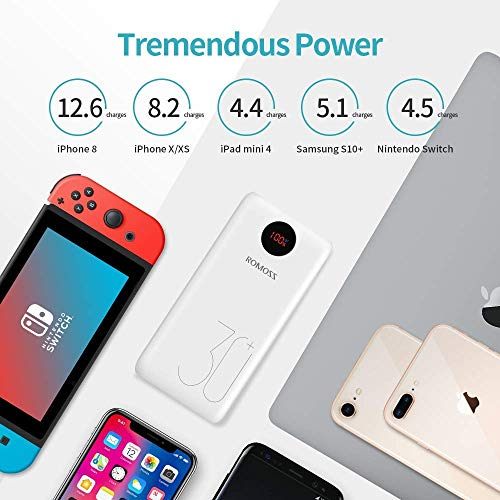 ROMOSS USB C Portable Charger 26800mAh, 18W PD Power Bank QC3.0, Tri-Input-Output Battery Pack Compatible for iPhone 11/11Pro, iPad, MacBook, S10, Switch, GoPro and More