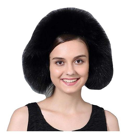 Women Fluffy Fox Fur Winter Warm Earmuffs Headband Ear Muff Shawl Urchart  (Black) 924b7ebd81b