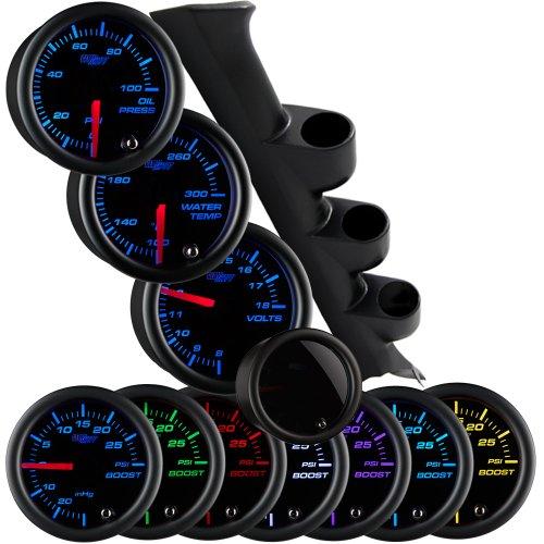 GlowShift Gauge Package for 1987-1993 Ford Mustang GT Hardtop - Tinted 7 Color 100 PSI Oil Pressure, 300 F Water Temperature & Volt Gauges - Black Triple Pillar Pod