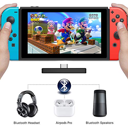 ZIIDOO Bluetooth Adapter for Nintendo Switch,Bluetooth Audio Transmitter with USB/Type C Connector,Low Latency Bluetooth Adapter Compatible with Nintendo Switch Lite/PS4/PS5/PC