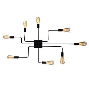 mirrea Modern Industrial Semi-Flush Mount Metal Ceiling Lighting for Rectangular Room 8 Lights Black Painted Finish