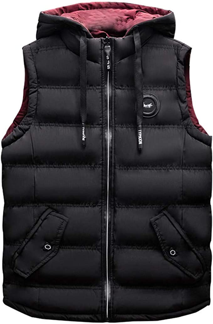 New Mens Hooded Vest Chic Cotton Sleeveless Sport Short Leisure Coats Zip Summer