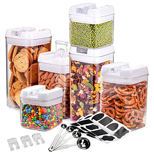 MAIKEHIGH Airtight Food Storage Container 6 Piece Set, Durable Clear BPA Free Kitchen Food Canister Fresh Dry with Lids Spoon Labels Christmas Gifts