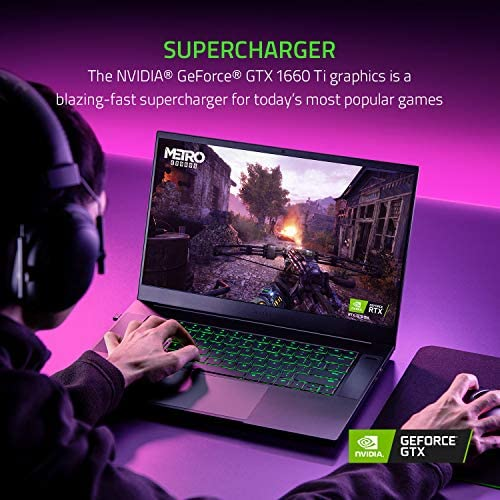 Razer Blade 15 Base Gaming Laptop 2020: Intel Core i7-10750H 6-Core, NVIDIA GeForce GTX 1660 Ti, 15.6″ FHD 1080p 120Hz, 16GB RAM, 256GB SSD, CNC Aluminum, Chroma RGB Lighting, Thunderbolt 3, Black 51nr7NU8M9L