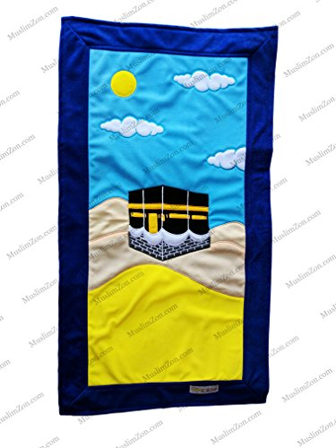 MY LITTLE PRAYER RUGS FOR MUSLIM KIDS COLORFUL HANDMADE CHILDREN'S PRAYER SAJADAH MAT FOR BOYS  GIRLS (KABAH – BLUE)