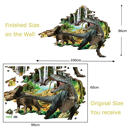 BAYCHEER Peel and Stick Removable Wall Decal, 3D Dinosaur Decorative creative Cartoon Wall Stickers Home Decor stickers for Children Bedroom, Nursery, Playroom Mural,Living Room, 60x90cm