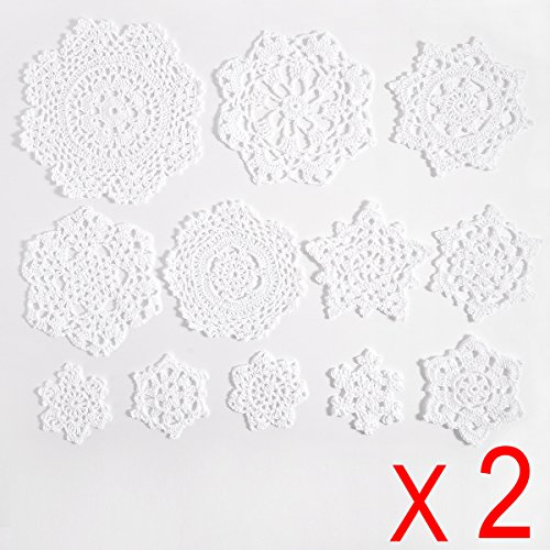 (Surepromise 24 x Vintage Lace Crochet Motifs mini Doilies 7-18 cm white Xmas decoration Snowflake Flower DIY Craft Scrapbooking Embellishment)