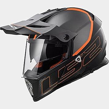 LS2 MX436 PIONERO Elemento Doble Visera Casco de Motocross - Negro Mate Titanio XXS(51