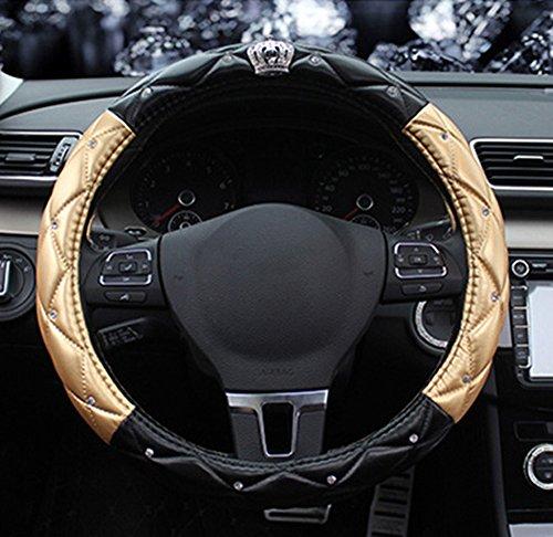 BAIMIL Car Steering Wheel Cover Universal Cystal Crown PU Leather DAD Diamond Steering Wheel Cover 15 inch Black & Gold