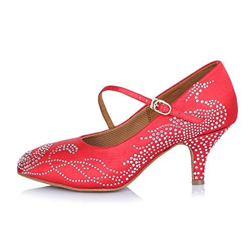 Roymall Kvinna Latinska Dansskor Med Strass Balsal Salsa Tango Prestanda Skor, Modell Afct306 Röd