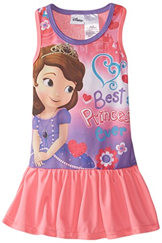 Disney Little Girls' Toddler Sofia Raceback Dress, Pink, 2T - Wash Polyester Dress