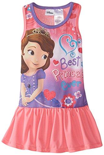 Disney Little Girls' Toddler Sofia Raceback Dress, Pink, 2T - Wash Polyester Dress