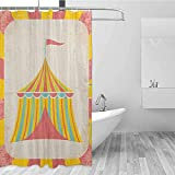 SONGDAYONE Light Shower Curtain Circus Circus Tent Illustration with Grunge Look Vintage Entertainment Carnival Theme Art Daily use Multicolor W48 xL72