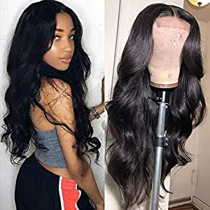 Muokass 4x4 Lace Front Wigs Body Wave Brazilian Virgin Human Hair Lace Closure Wigs For Black Women 150% Density Pre Plucked With Elastic Bands Natural Color Hairline (10 Inch, body wave wig)