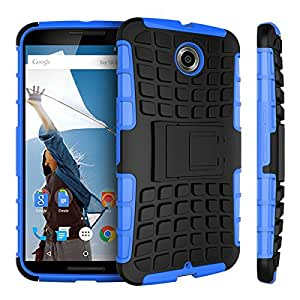 TPU Silicon Back cover for Google Nexus 6 XT1100 XT1103 Protective Cover with Plastic Stand Hard Case Mix Color --- Color:blue case