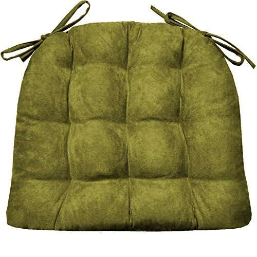 - Barnett Products Dining Chair Pad with Ties - Microsuede Laurel Green Micro Fiber Ultra Suede - Size Standard - Reversible, Latex Foam Filled Cushion, Machine Washable