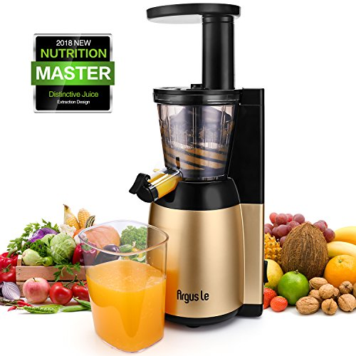 Argus Le Slow Juicer Machine, Easy to Clean Masticating Juicer Extractor, Quiet Motor and Reverse Function, Cold Press Juicer for High Nutrient Fruit and Vegetable Juice