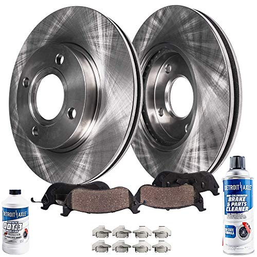 Detroit Axle - Pair (2) Front Disc Brake Rotors w/Ceramic Pads w/Hardware & Brake Cleaner & Fluid for 2009-2014 Nissan Cube - [2007-2012 Sentra] - 2007-2012 Versa L4 1.8L