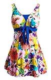 Wantdo Women's New 2016 Over Size Swimsuit One-piece Hot Large Dress Swimwear, OrangeFlower, 2XL(US10-12)