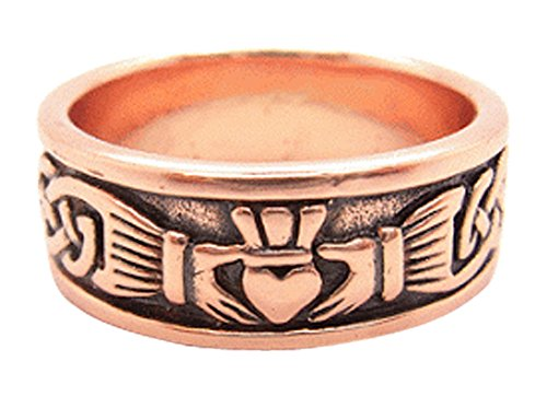 Copper Celtic Claddagh Ring CRI969 - Size 10 - 1/4 of an inch wide